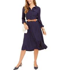 charter club petite dot-jacquard shirtdress, created for macy's