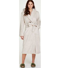 hunkemöller long fleece bathrobe beige
