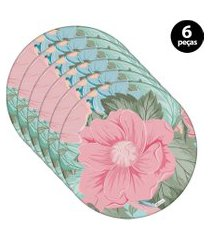 capa para sousplat mdecore flor verde 6pçs