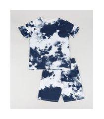 pijama infantil estampado tie dye manga curta azul