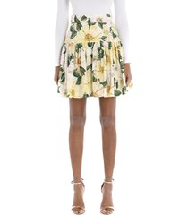 short circle skirt in camellia-print poplin