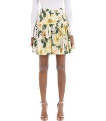 dolce & gabbana short circle skirt in camellia-print poplin