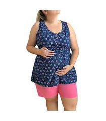 pijama plus size short doll amamentação regata coração linda gestante