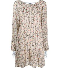 semicouture straight fit floral print dress - neutrals