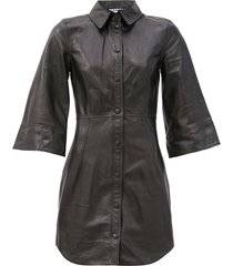 bell-sleeve leather mini dress