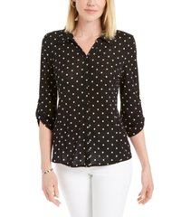 charter club mesh dot-print button-down top, created for macy's