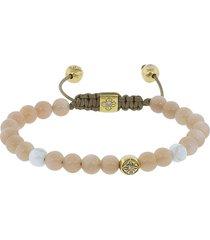 peach moonstone and white ceramic beaded bracelet