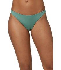 women's o'neill flamenco saltwater solid bikini bottoms, size x-small - green