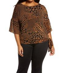 plus size women's michael michael kors animal print side tie blouse