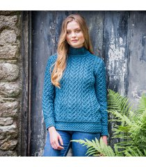teal kilcar aran sweater small