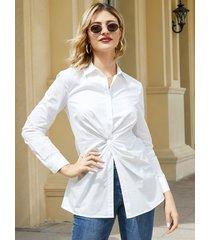 yoins botón blanco diseño classic blusa de manga larga con cuello