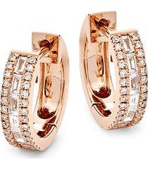 14k rose gold & diamond huggie hoop earrings