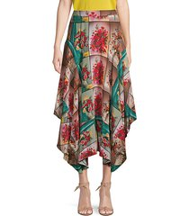 floral high-low maxi skirt