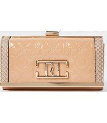 river island womens beige ri embossed patent cliptop purse