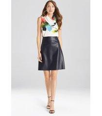 natori faux leather skirt, women's, blue, size 6 natori