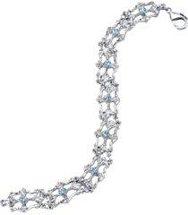 downton abbey silver-tone light blue crystal link bracelet