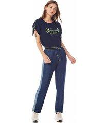t-shirt zinco decote redondo com retilãnea azul - azul - feminino - dafiti