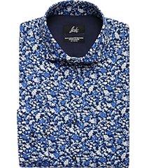 suitor navy floral slim fit dress shirt