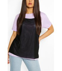 2in1 contrast turn up sleeve t-shirt, lilac