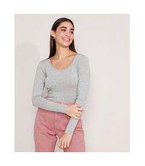 blusa feminina básica manga longa decote redondo cinza mescla claro