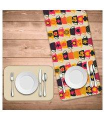 jogo americano com caminho de mesa wevans xícaras coloridas kit com 4 pçs + 1 trilho