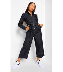 denim jumpsuit met contrasterende stiksels en ceintuur, black