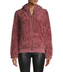 marc new york by andrew marc women's faux fur hooded jacket - dried rose - size m