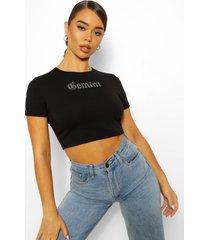 kort gemini t-shirt met steentjes, black