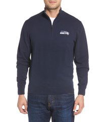 cutter & buck seattle seahawks - lakemont regular fit quarter zip sweater, size xxx-large in liberty navy at nordstrom