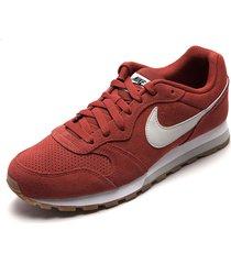 tenis lifestyle rojo-beige-blanco nike runner 2 suede