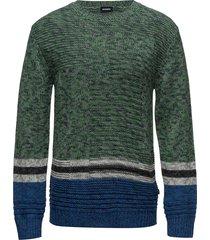 k-links pullover stickad tröja m. rund krage grön diesel men