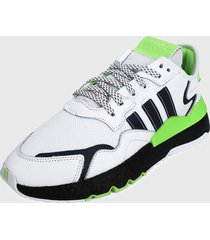 tenis lifestyle blanco-negro-verde adidas originals nite jogger