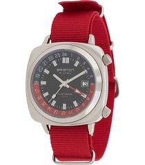 briston watches clubmaster gmt traveller stainless steel watch - black