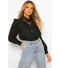 geplooide blouse met kanten zoom, black