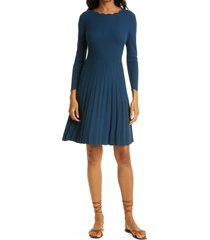 women's rebecca taylor ribbed sleeveless fit & flare dress, size x-large - blue