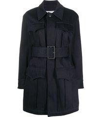 ami paris multi-pocket belted coat - blue