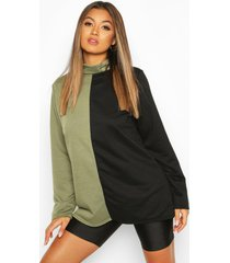 colour block turtle neck sweat top, khaki
