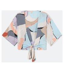 blusa manga 3/4 kimono estampa abstrata | marfinno | multicores | p