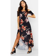 floral off shoulder maxi dress, black