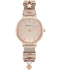 bcbgeneration ladies 2 hands slim rose gold-tone mesh watch, 34 mm case
