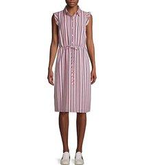 striped self-tie midi dress