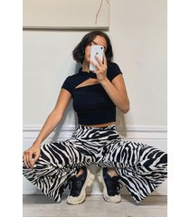 zebraprint broek met wijde pijpen, ivoor