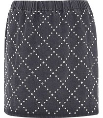 miu miu embellished patterned skirt