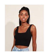 top cropped de tricô feminino mindset canelado alça larga decote reto preto