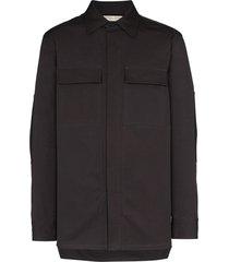 bottega veneta structured chest pockets shirt - grey