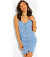 button front denim dress, light blue