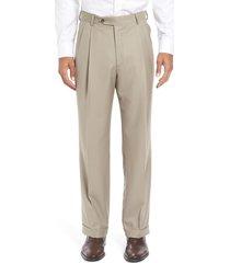 men's berle super 130s gabardine pleated trousers, size 30 x unhemmed - beige