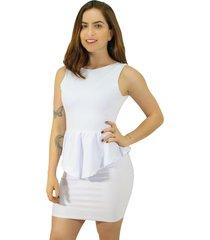 vestido racy modas tubinho babado peplum costas nua branco