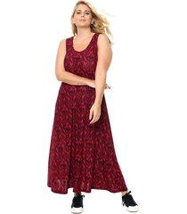 vestido rojo mecano evase hojas caroline plus size