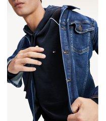 sudadera de puro algodón con capucha azul tommy hilfiger